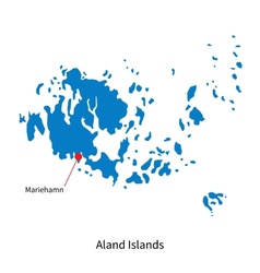 Detailed map of aland islands and capital city vector