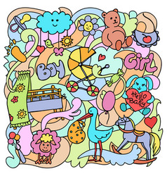 Doodle baby colorful objects vector