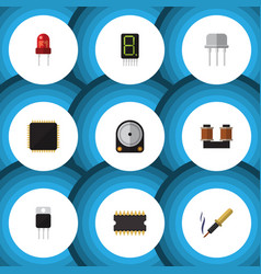 Flat icon electronics set of hdd microprocessor vector