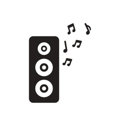 Flat icon in black and white musical speaker vector