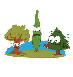 Funny trees in trouble vector