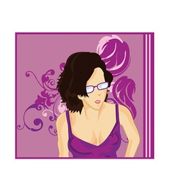 Girl with glasses vector image vector image