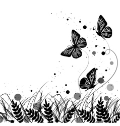 Grass and butterflies silhouettes background vector image