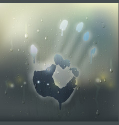 Hand on misted glass realistic composition vector