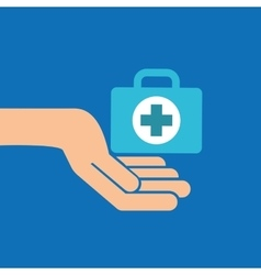 Hands with kit first aid emergency icon vector