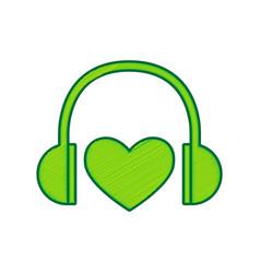 headphones with heart lemon scribble icon vector image vector image