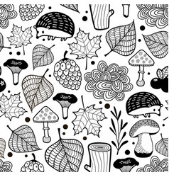 Hedgehog seamless pattern with nature elements vector