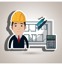 Man architecture calculator plans vector