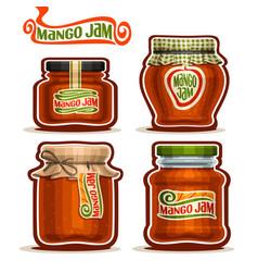 Mango jam in glass jars vector