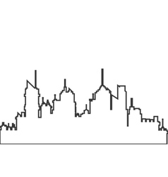 Modern city skyline outline icon vector
