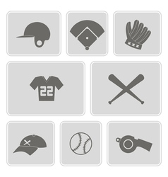 Monochrome set with baseball icons vector