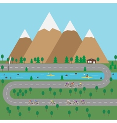 Outdoor sports in mountains Flat style vector image