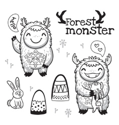 Outline hand drawn cartoon forest monsters vector