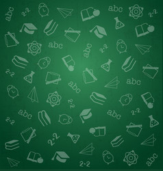 pattern from school elements on green chalkboard vector image vector image
