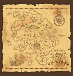 Pirate treasure map hand drawn vector