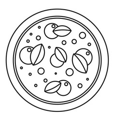 pizza with basil icon outline style vector image