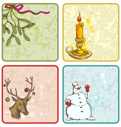 retro hand drawn christmas banner vector image vector image