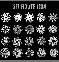 Set icon geometric flowers vector