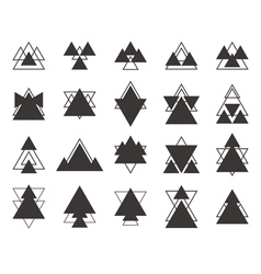 Set of black geometric shapes triangles lines for vector image vector image