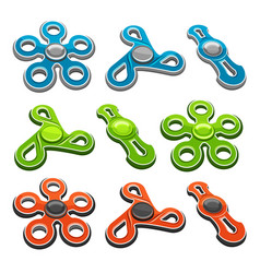 Set of colorful fidget spinners vector
