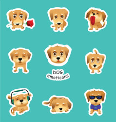 Set of stickers emojis with cute dog vector