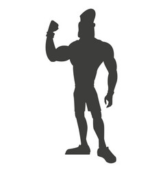 Silhouette healthy man athletic strong vector