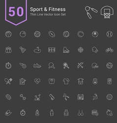 Sport and Fitness Thin Icon Set vector image