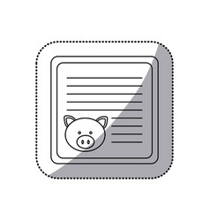 Sticker monochrome card with male pig head vector