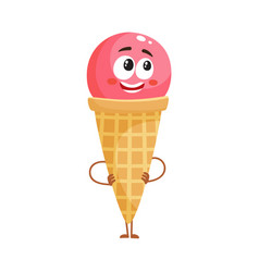 Strawberry ice cream character in wafer cone with vector
