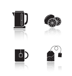 Tea equipment drop shadow icons set vector image vector image