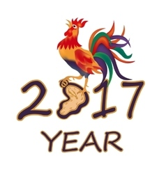 The stylized image 2017 fire rooster vector