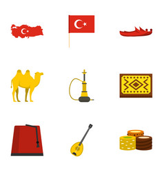 Turkey things icons set flat style vector