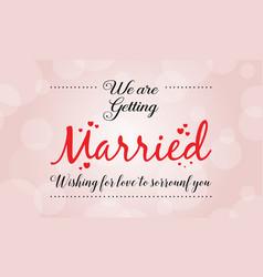 Wedding card with romantic theme vector