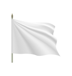 White flag waving on the wind vector