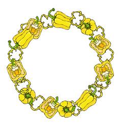 Yellow bell peper wreath half of sweet paprika vector