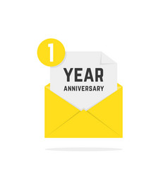 1 year anniversary icon in yellow letter vector