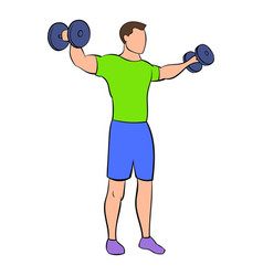 Dumbbell lateral raises icon cartoon vector