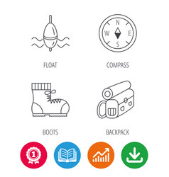 compass fishing float and hiking boots vector image