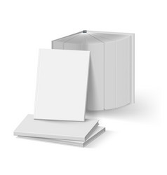 Stack of blank gray books mockup template on vector