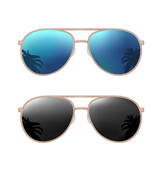 Aviator modern sunglasses with palms reflection vector