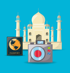 Tag mahal architecture with passport and camera vector
