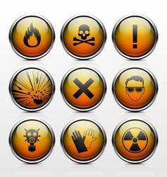 Icons with signs warning of the dangers vector