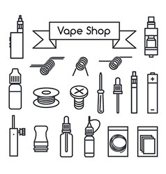 Vape shop icons vector