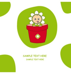 Baby dressed in a flower pot vector