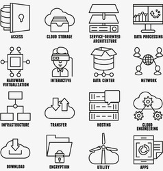 Set of linear cloud computing icons - part 2 vector