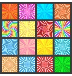 Colorful fanning rays backgrounds set vector