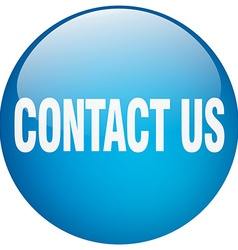 Contact us blue round gel isolated push button vector
