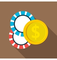Casino chips icon flat style vector