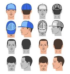 baseball tennis rap cap and man head set vector image vector image
