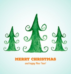 Christmas card with watercolor Christmas trees vector image vector image